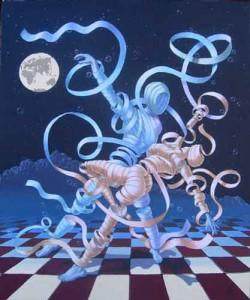 ballerini di tango fatti di nastri, sullo sfondo notte blu e pavimento a scacchi